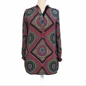 Tolani Silk Print Long Sleeve Tunic Dress Size XS